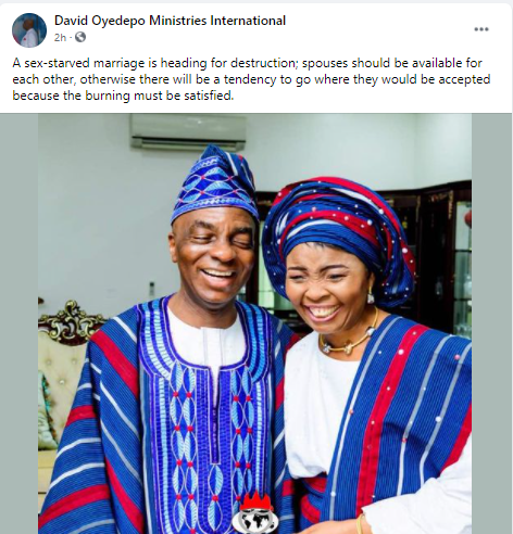 """""""Marriage Without Sex Is Heading For Destruction"""" – Bishop Oyedepo Tells Couples"""