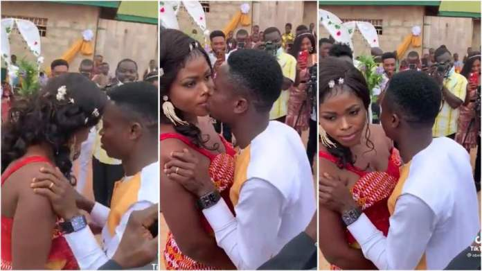 Drama As Bride Refuses To Kiss Her Groom On Their Wedding Day [Video]