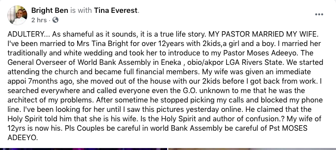 Nigerian Man Cries Out After Pastor Married His Wife On Instruction Of 'Holy Spirit' 1