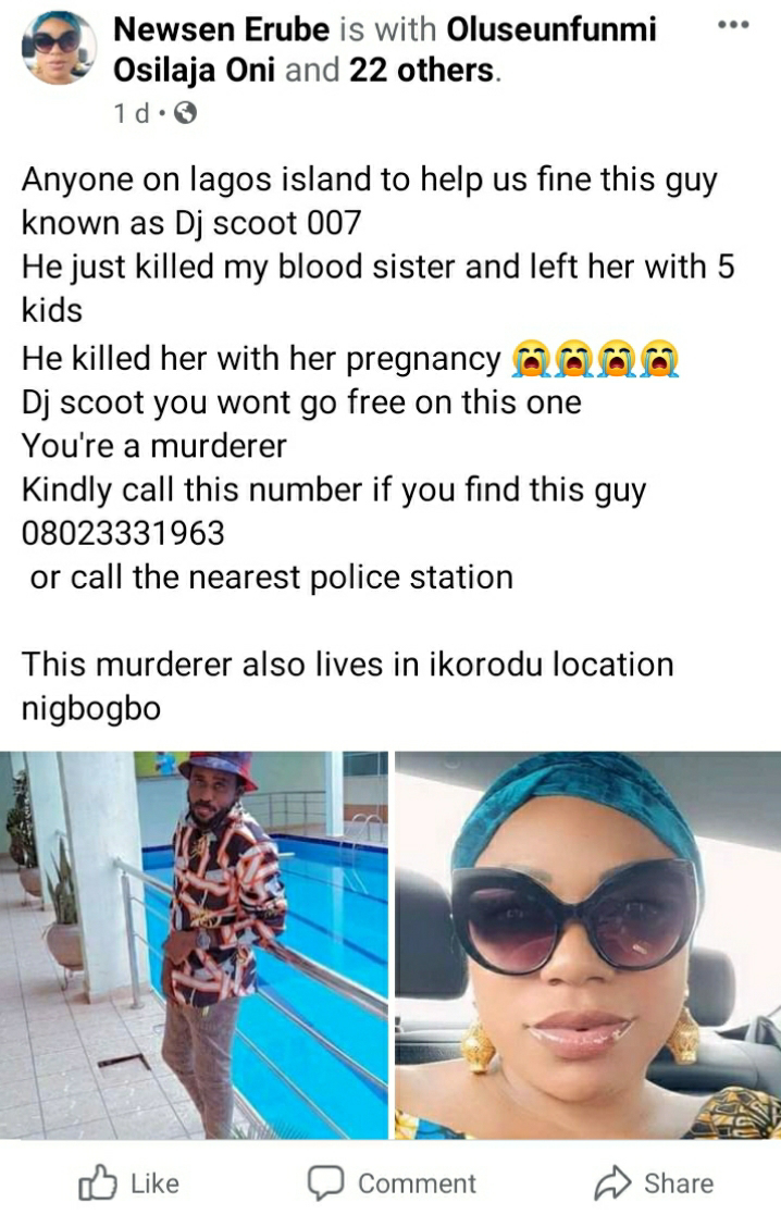 DJ Scoot Allegedly Kills His Pregnant Lover After She Bought Him A Car And House