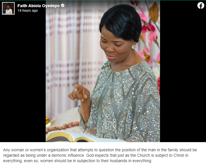Any Woman Questioning Man's Authority Is Under Demonic Influence – Bishop Oyedepo's Wife 1