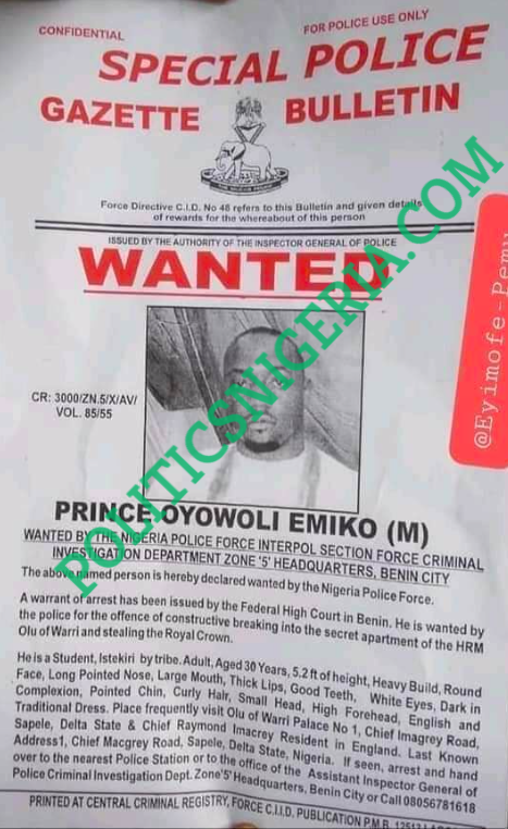 Olu Of Warri's Two Sons Declared Wanted By Police For Stealing Royal Crown