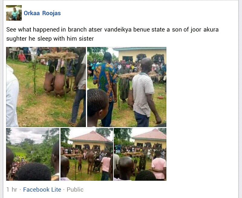 Man Paraded Naked With Sister After They Were Caught Having Sεx In Benue [Photos]