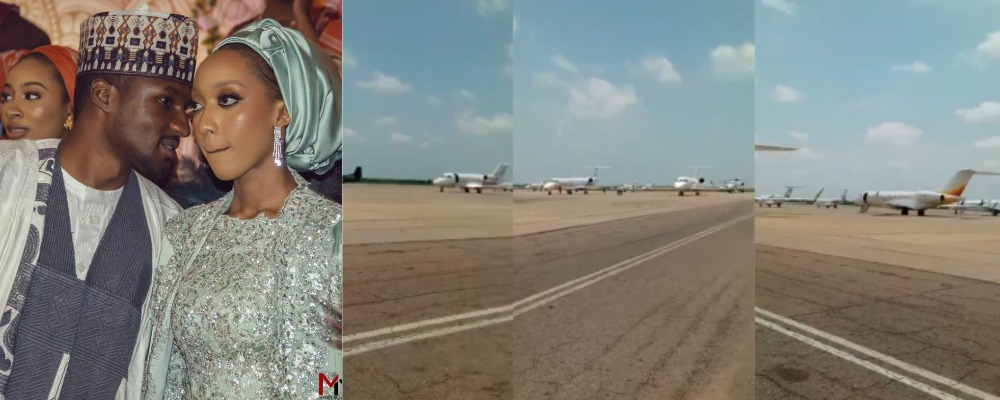 Nigerian Leaders Flew Over 100 Private Jets To Kano For Yusuf Buhari's Wedding [Video]