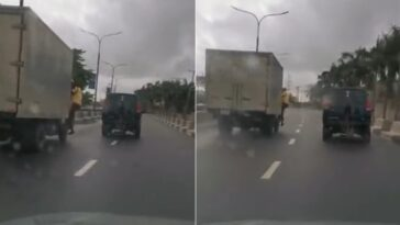 LASTMA Official Falls Off Truck Moving At High Speed While Trying To Arrest Driver [Video]