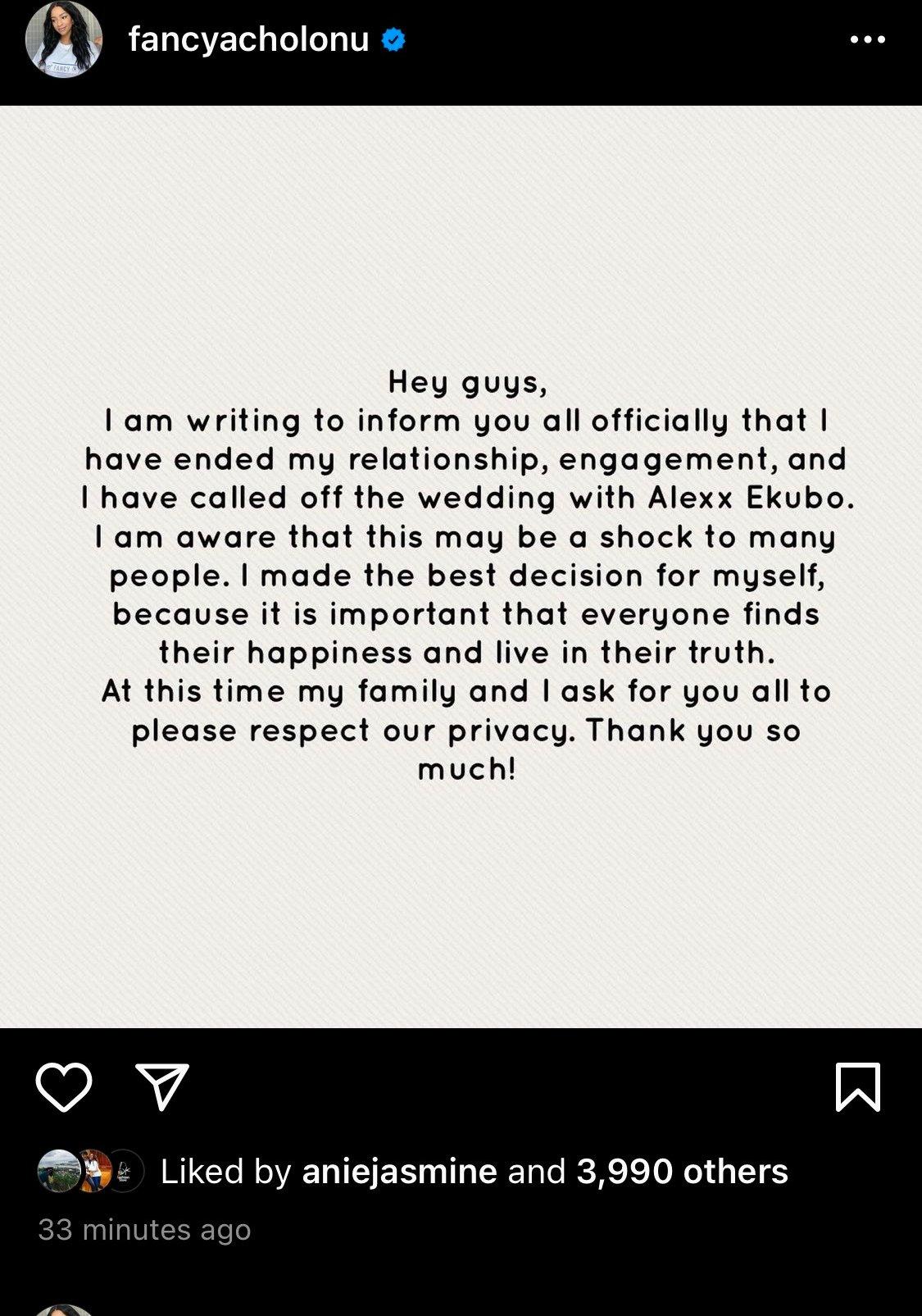 """I Made Best Decision For Myself"" - Fancy Acholonu Confirms Breakup With Alexx Ekubo"