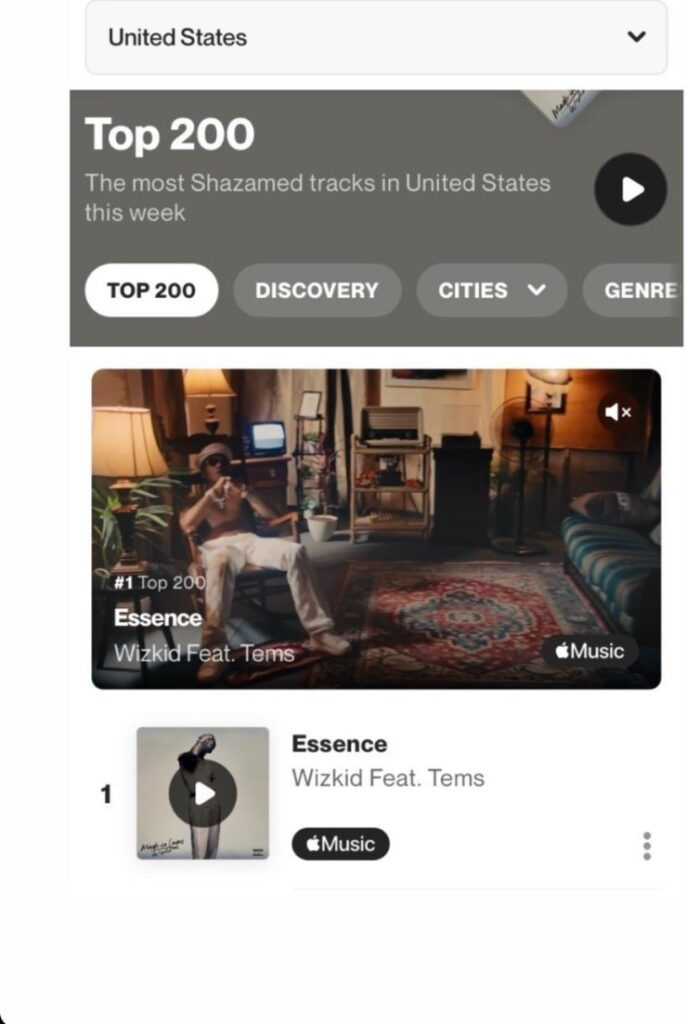 """Wizkid's """"Essence"""" Featuring Tems Becomes Most Shazamed Song In United States"""