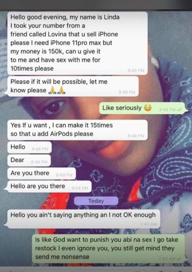 Lady Offers To Sleep With Man 10 Times As Part Payment For iPhone 11 Pro Max