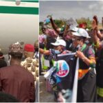 Buhari Arrives Imo In Full Igbo Attire, Residents Troop Out To Welcome Him [Photos]