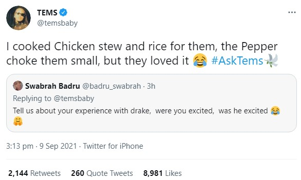 """""""I Cooked For Drake And Pepper Choked Him While Eating"""" - Nigerian Singer, Tems"""