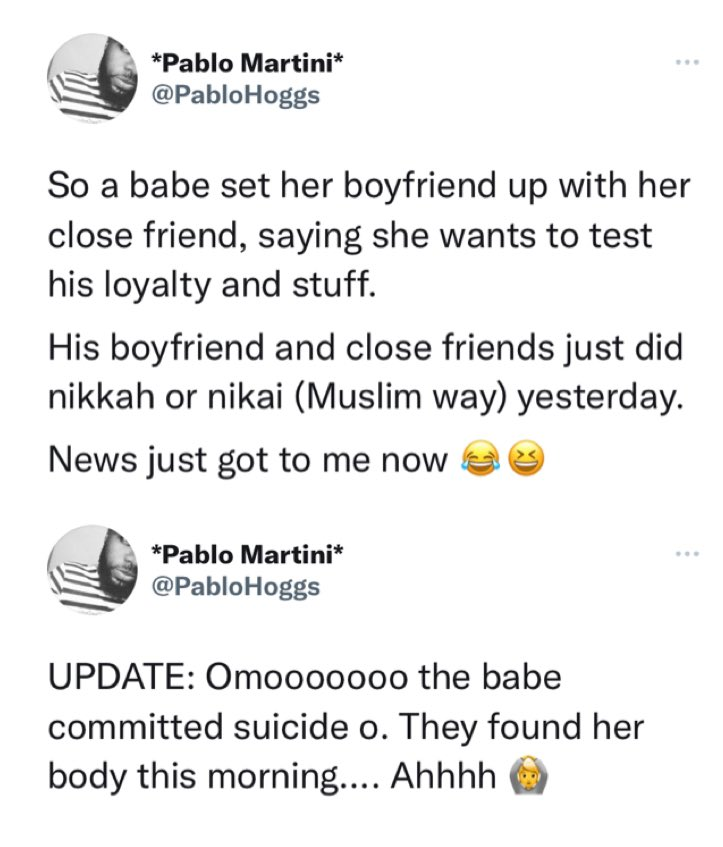 Lady Commits Suicide After She 'Mistakenly' Made Her Boyfriend To Marry Her Friend