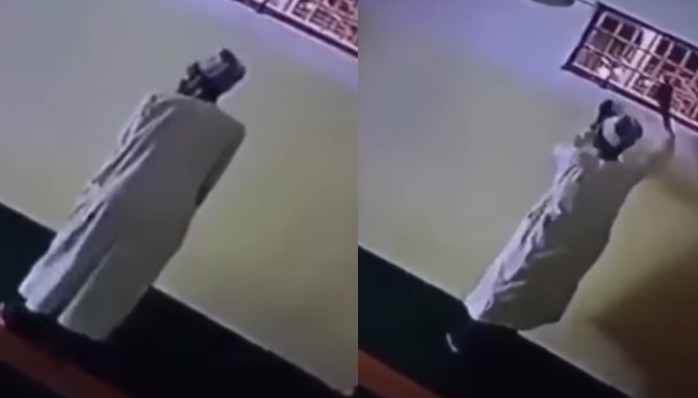 Man Caught On CCTV Stealing Lamp From Mosque After Pretending To Be Praying [Video]