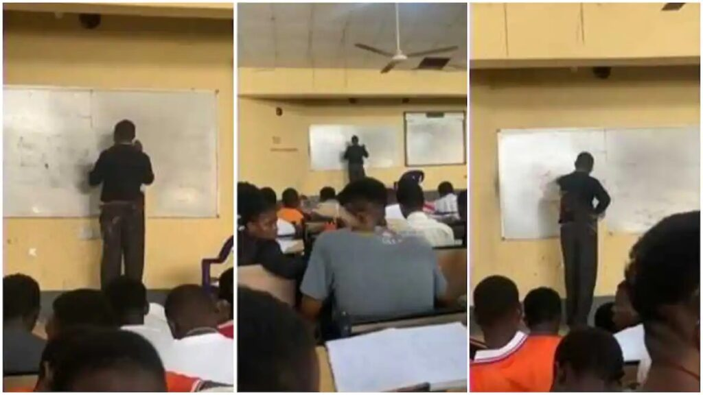 UNN Students Mocks Physics Lecturer Who Got Stuck While Solving A Question [Video]
