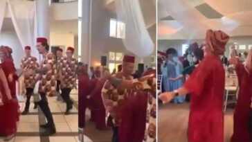 White Groom's Family Rock Igbo Attire, Display 'Funny' Dance Steps To Flavour's Song [Video]