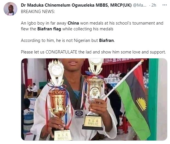 Nigerian Boy Celebrates With Biafran Flag As He Emerges Taekwondo Champion In China 4
