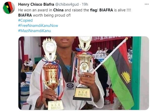 Nigerian Boy Celebrates With Biafran Flag As He Emerges Taekwondo Champion In China 3