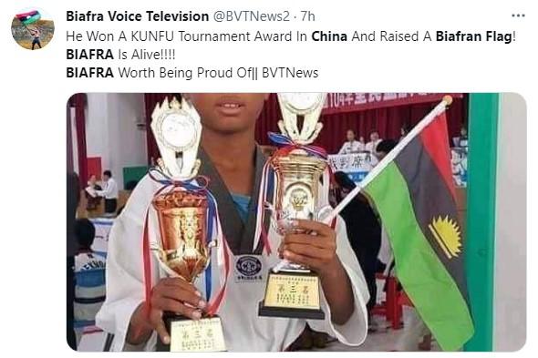 Nigerian Boy Celebrates With Biafran Flag As He Emerges Taekwondo Champion In China 2