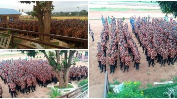 Anambra School Students Attend Their First Assembly In 'Isi Agu' Native Wear [Photos]