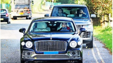 Photos: Cristiano Ronaldo closely followed by bodyguards as he drives his Bentley to training 8