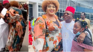 Governor Umahi Kisses His Wife At Enugu Airport After Vacation Abroad [Photos/Video]