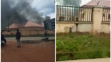 Two Killed As Gunmen Burn DSS, FRSC Offices In Anambra Over Nigerian Flag [Video]