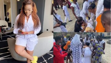 Actress Nkechi Blessing Sunday Slumps At Her Mother's Ongoing Burial In Lagos [Video]