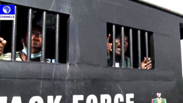 #EndSARSAnniversary: Police Arrests Two Protesters At Lekki Tollgate In Lagos [Photos]