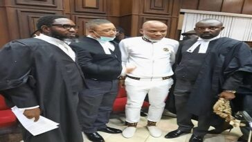 IPOB Leader, Nnamdi Kanu Brought To Court For Trial Amidst Tight Security [Photos}