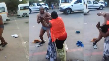 Woman Strips Off Her Husband's Cloths As They Publicly Fights Dirty On The Streets [Photos] 6
