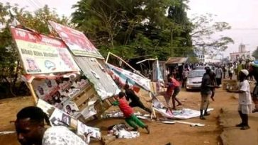 Akume, APC Youths Destroys Billboards, Posters Belonging To Ortom, PDP Candidates In Markudi [Photos] 3