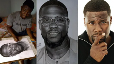 American Actor Kevin Hart Reaches Out To Young Nigerian Artist Who Drew Him [Photos] 1