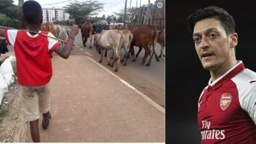 Arsenal Star Player, Mesut Ozil Reaches Out To A Young African Herds Boy [Photos] 2