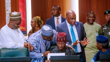 Ministers Burst Into Laughter As Buhari Asks Amaechi To Lead The Prayer At FEC Meeting 5